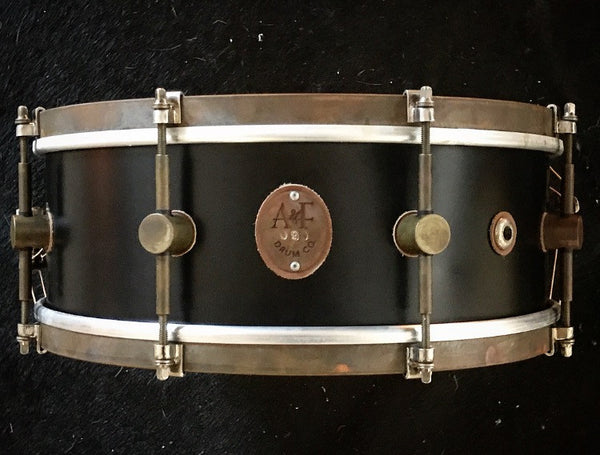 8-Lug Steam Bent Solid Maple Snare in Black Matte Finish w/brass hoops