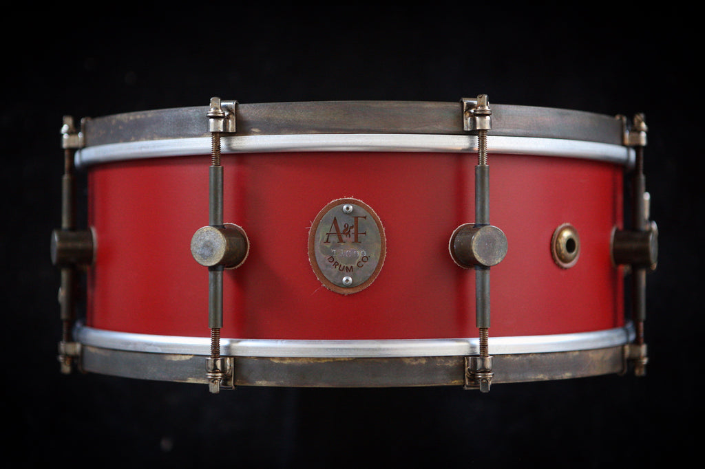 8-Lug Steam Bent Solid Maple Snare in Antique Red Finish