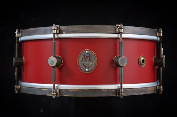 8-Lug Steam Bent Solid Maple Snare in Antique Red Finish w/brass hoops