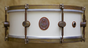 8-Lug Steam Bent Solid Maple Snare in Antique White Finish