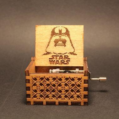 Handmade Engraved Star Wars Wooden Music Box