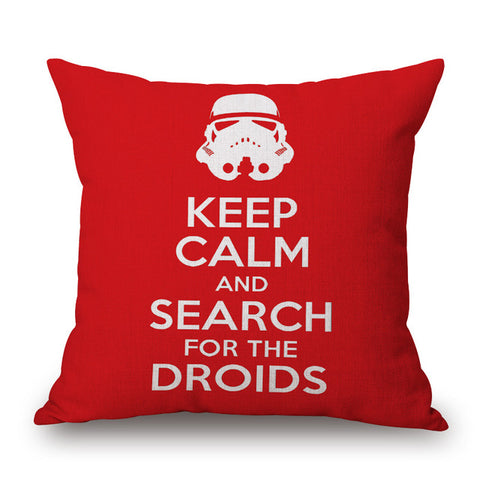 Keep Calm and Search For Droids Pillow Cover