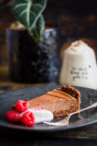 A slice of Freya's Nourishment Chocolate Mousse Tart