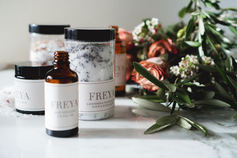 Freya's Nourishment natural beauty. Hydrating body oil, bath salts and rose hand scrub