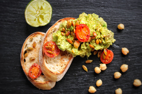 High protein chickpea and avocado breakfast