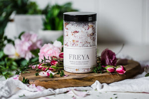 Rose and Pomegranate Bath and Foot Salts - Freya's Nourishment
