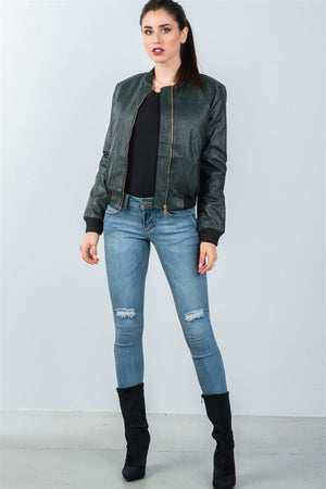 Ladies fashion fully lined peacock pleather bomber jacket