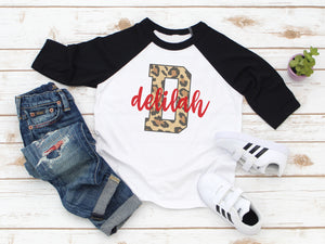 Customized Leopard Letter Raglan