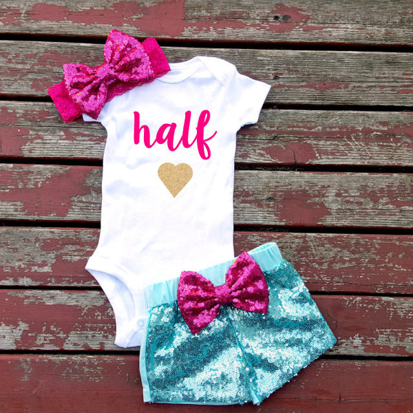 Half Birthday Baby Girl Onesie, Pink, Gold, Glitter, Birthday, 6 Months Old,  Photography, Prop Tutu