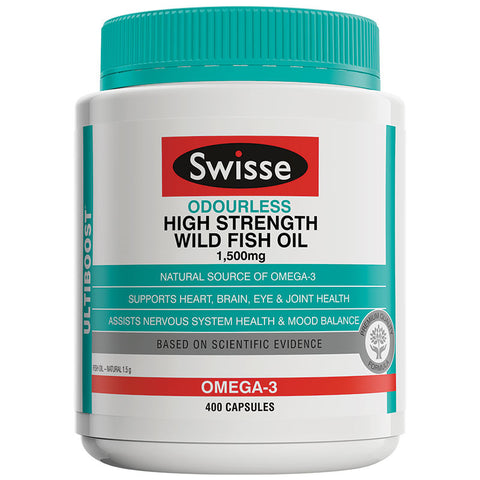 Swisse Ultiboost Odourless High Strength Wild Fish Oil 1500mg 400 Capsules