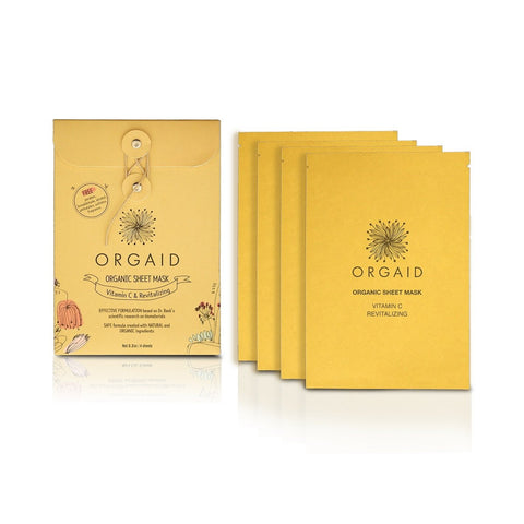 Innovative Organic Sheet Mask (Ecoderma) made in the USA. Orgaid Vitamin C & Revitalizing Organic Sheet Mask Box (4 Sheets) - One Fine Secret
