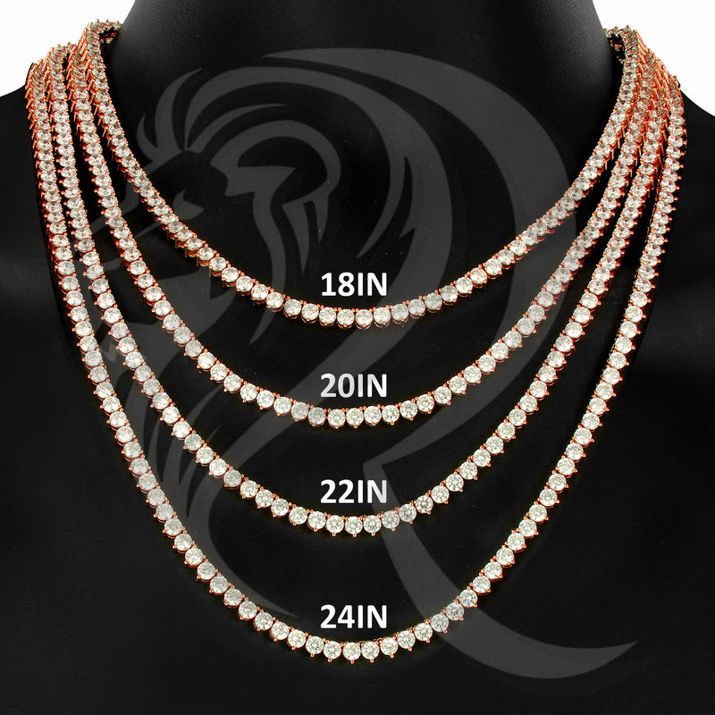 "4MM 18""-24"" Rose Gold Clear Simulated Diamonds 1 Row Tennis Chain"