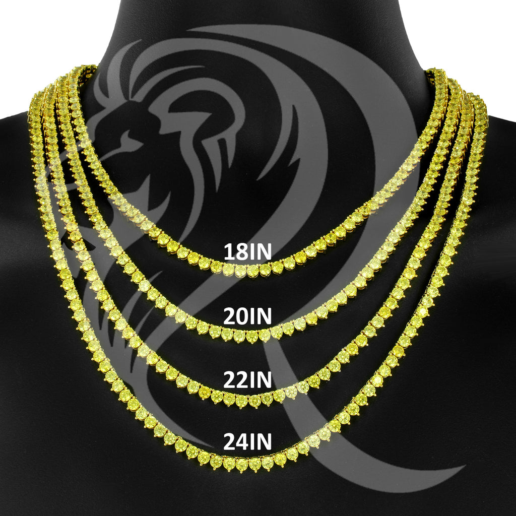"4MM 18""-24"" Yellow Canary 3 Prong Simulated Diamonds 1 Row Tennis Chain"