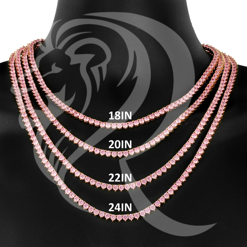"4MM 18""-24"" Solitaire Pink Simulated Diamonds 3 Prong 1 Row Tennis Chain"