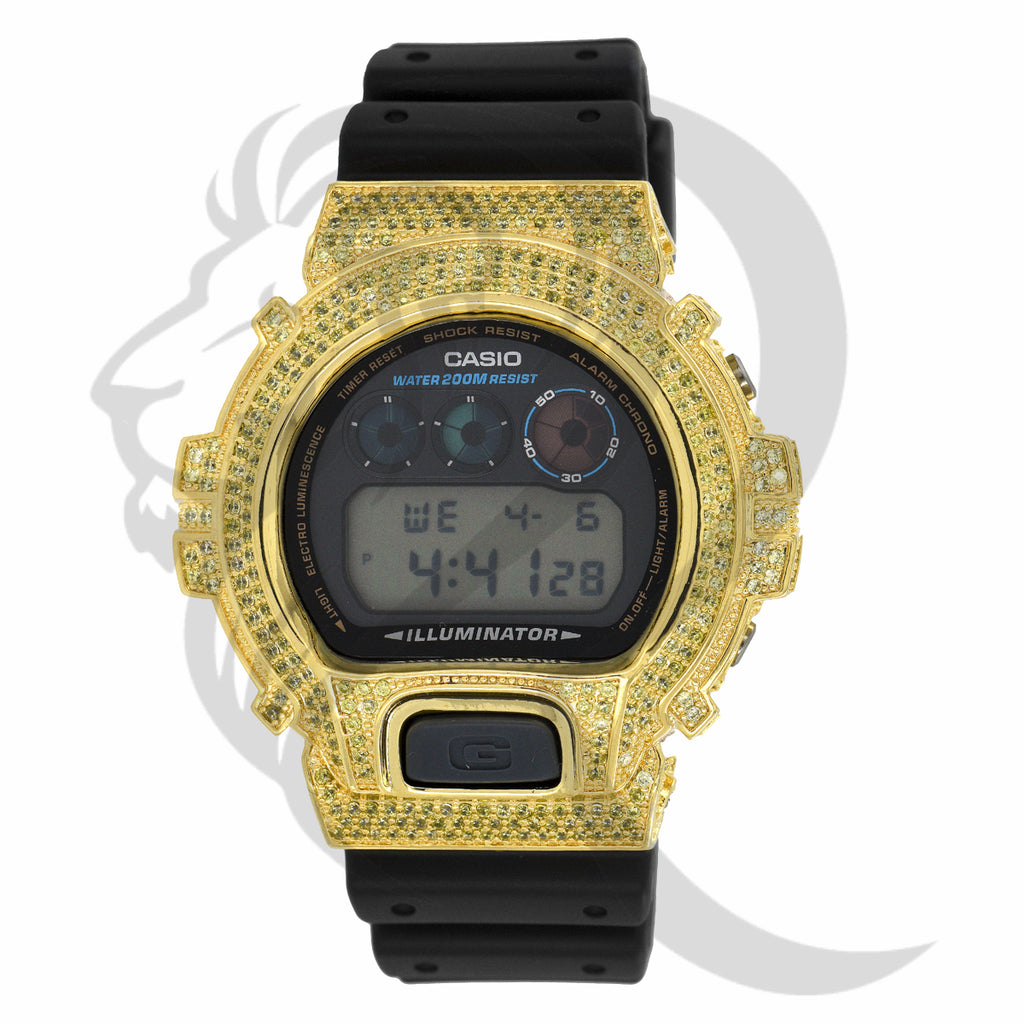 Yellow Canary IcedOut Custom Bezel DW6900 G-Shock Watch