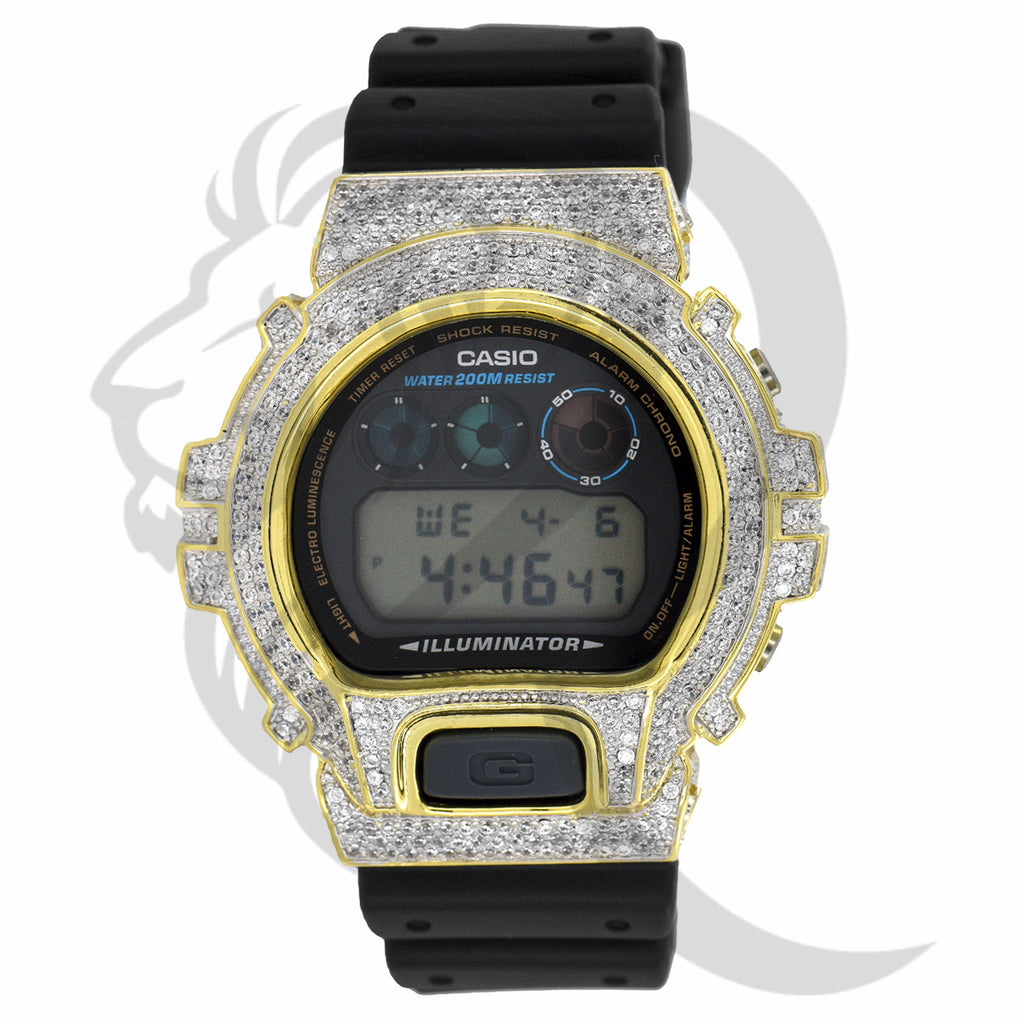 Clear Simulated Diamonds IcedOut Bezel DW6900 G-Shock Watch