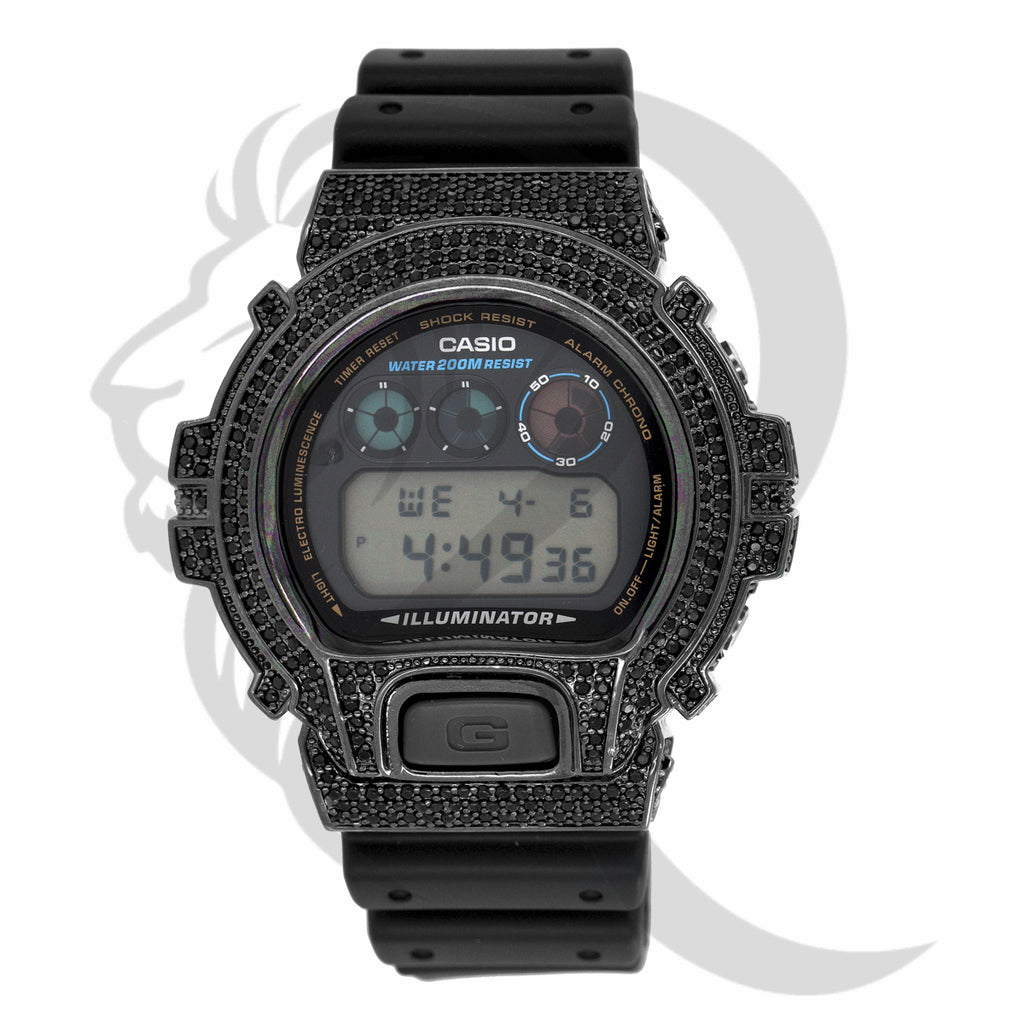 All Black Custom Simulated Diamonds Bezel DW6900 G-Shock Watch