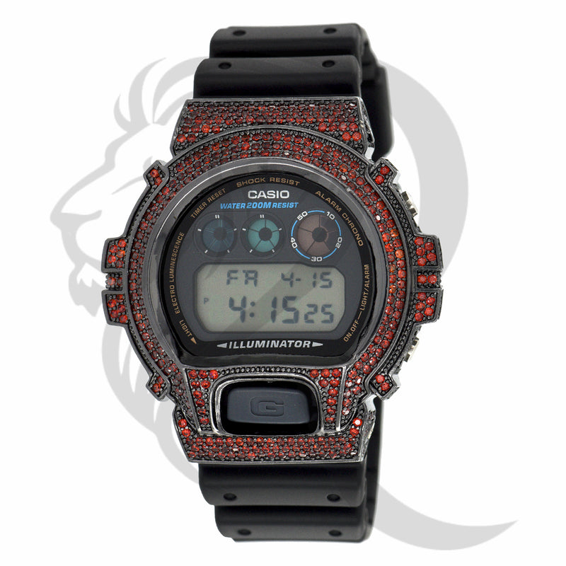 Red & Black Custom IcedOut DW6900 G-Shock Watch