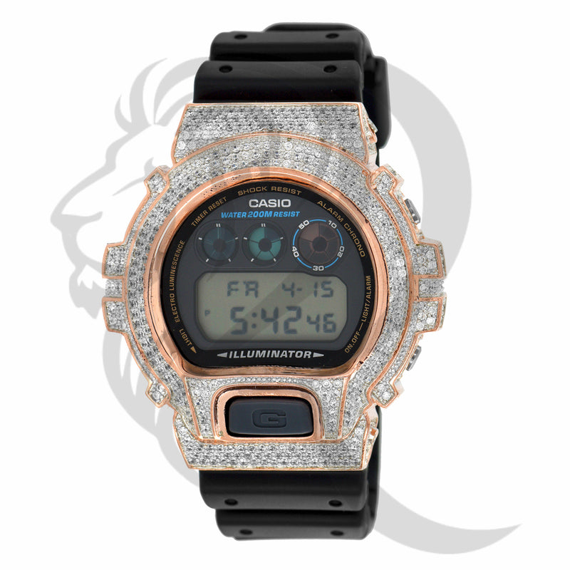Rose Tone Bezel IcedOut Custom DW6900 G-Shock Watch