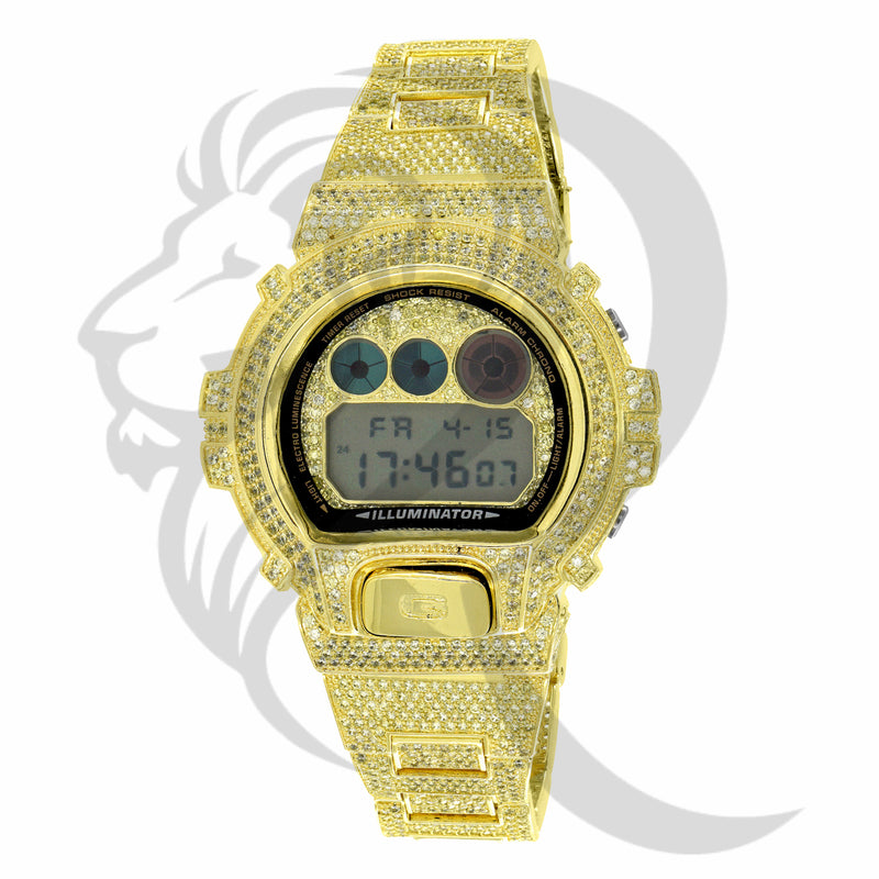 Fully IcedOut Canary Yellow DW6900 Custom G-Shock Watch