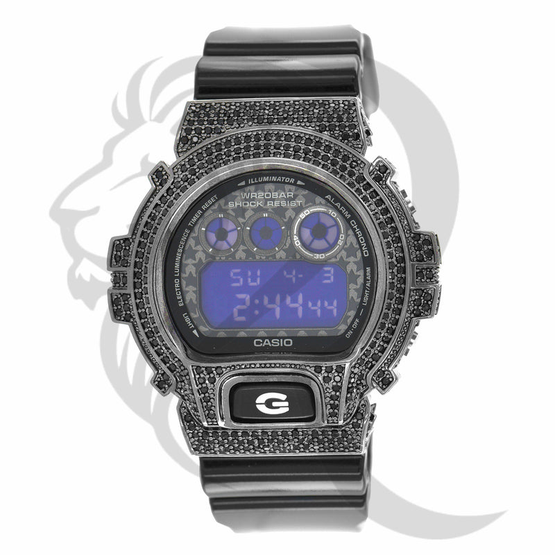 Black Simulated Diamonds Star Design Plate DW6900 G-Shock Watch