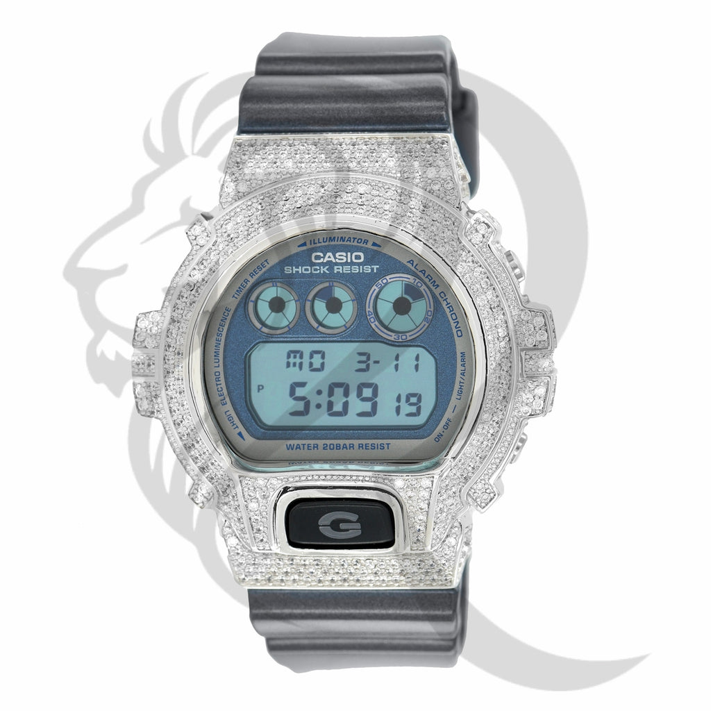 Glossy Sillicone Strap IcedOut Bezel DW6900 G-Shock Watch
