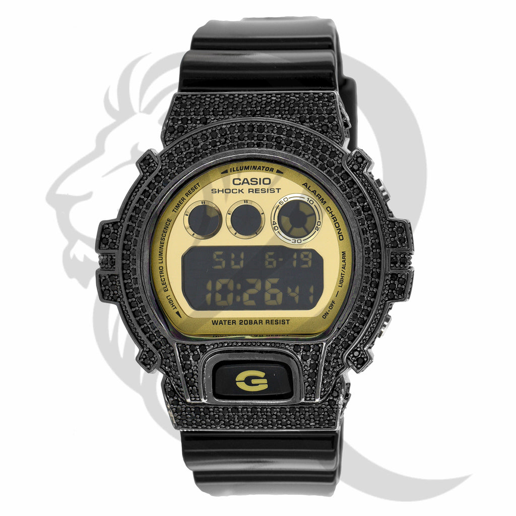 Black IcedOut Bezel Glossy Strap Yellow Plate DW6900 G-Shock Watch