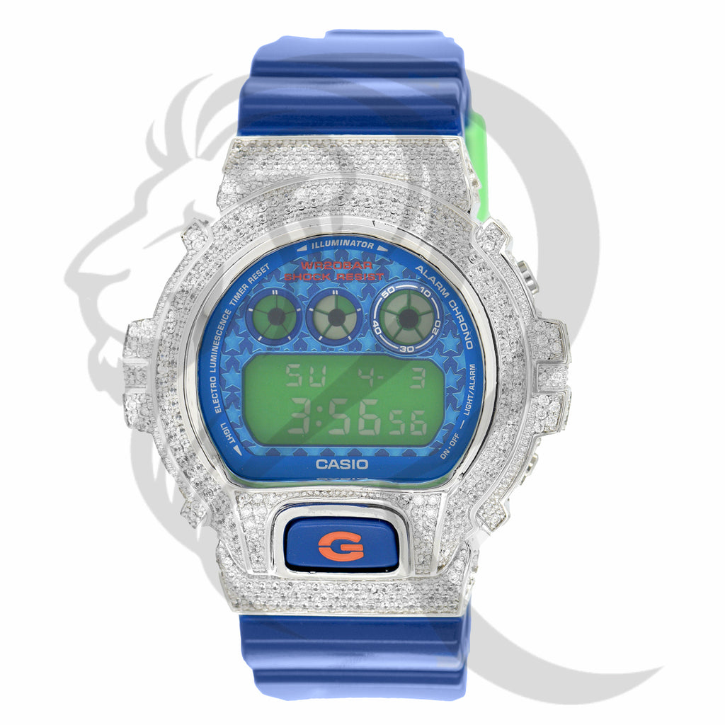 Glossy Blue Strap Custom IcedOut Bezel DW6900 Watch