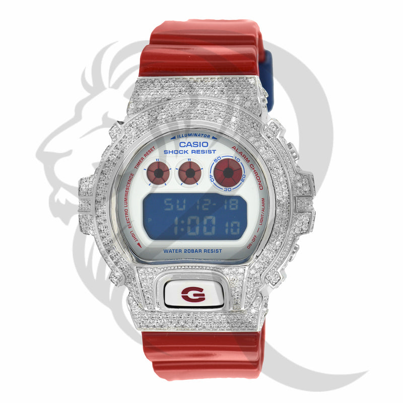 Red White Blue Custom Bezel Glossy Strap DW6900 G-Shock Watch