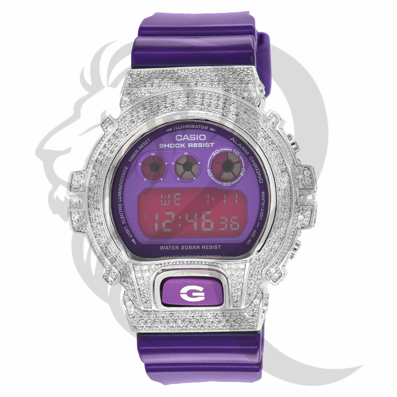 Glossy Purple Silicone Band IcedOut Bezel DW600 G-Shock Watch