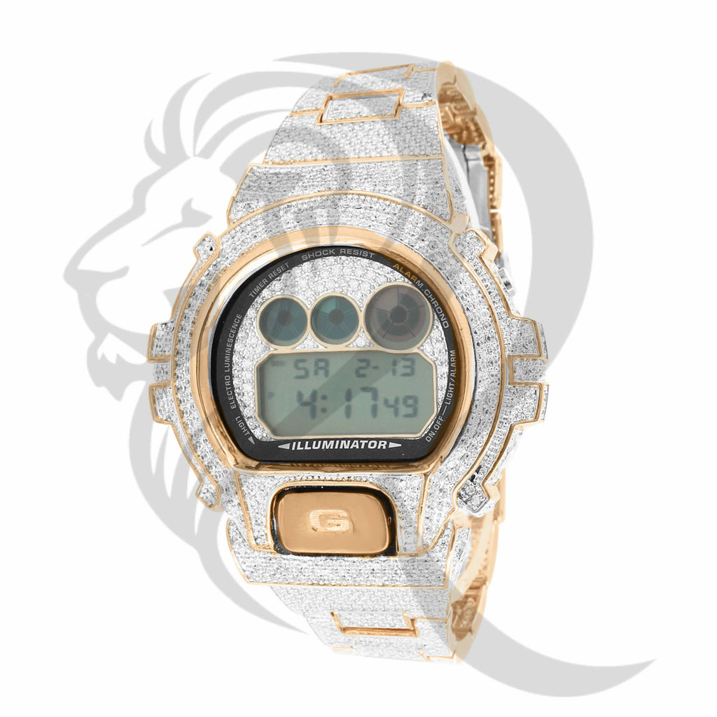 DW6900 Rose Tone Clear Simulated Diamonds G-Shock Watch