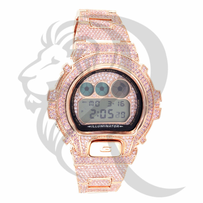 Pink Simulated Diamonds Fully IcedOut DW6900 G-Shock Watch