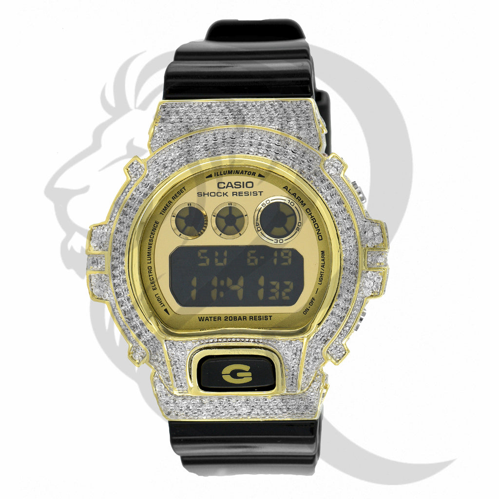 Custom Yellow Face Plate IcedOut DW6900 G-Shock Watch