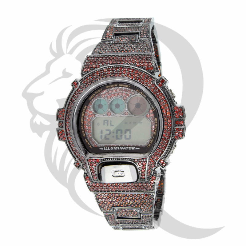 Black Plating Red Simulated Diamonds DW6900 G-Shock Watch