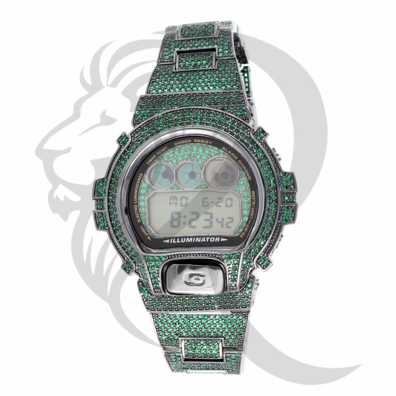 Custom Green Simulated Diamonds DW6900 G-Shock Watch