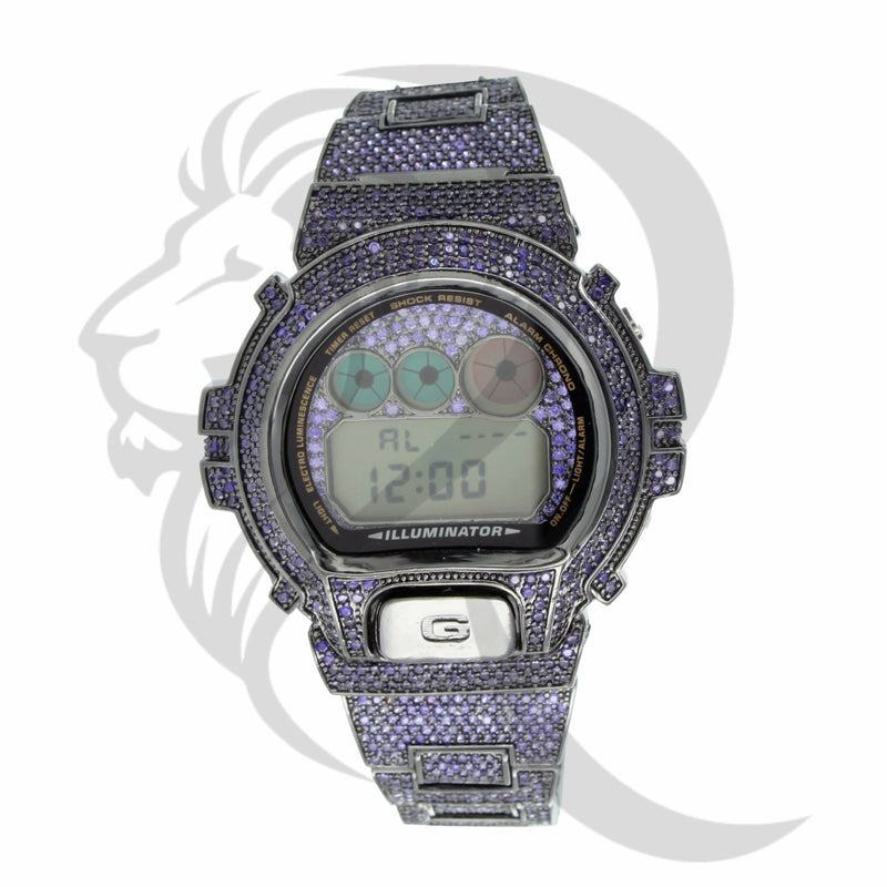Purple Fully IcedOut DW6900 Custom G-Shock Watch