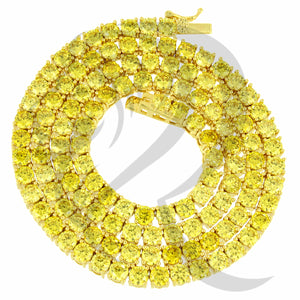 "4MM 18""-24"" Canary Yellow Tone Simulated Diamonds 1 Row Tennis Chain"