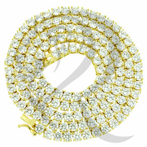 "4MM 18""-24"" Yellow Tone Clear Simulated Diamonds 1 Row Tennis Chain"