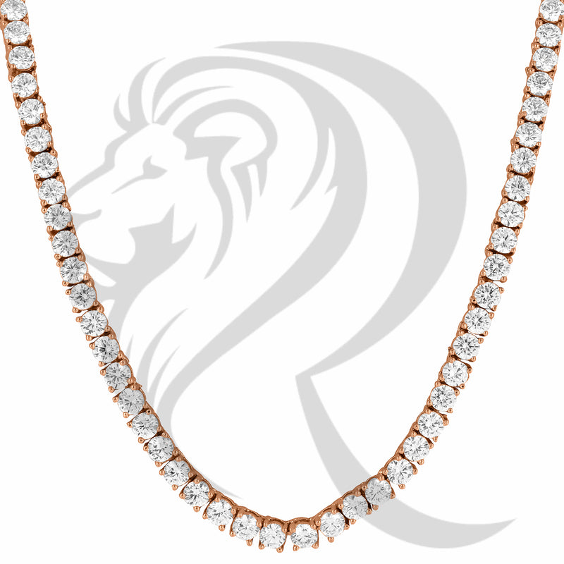 "3MM 18""-24"" Rose Tone White Simulated Diamonds 4 Prong Tennis Chain"
