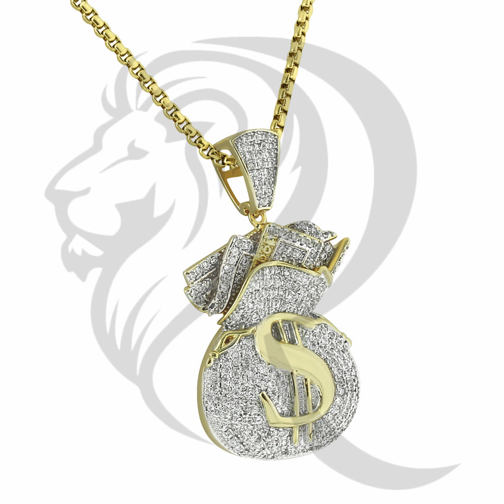 IcedOut Yellow Tone Dollar Sign Money Bag Pendant
