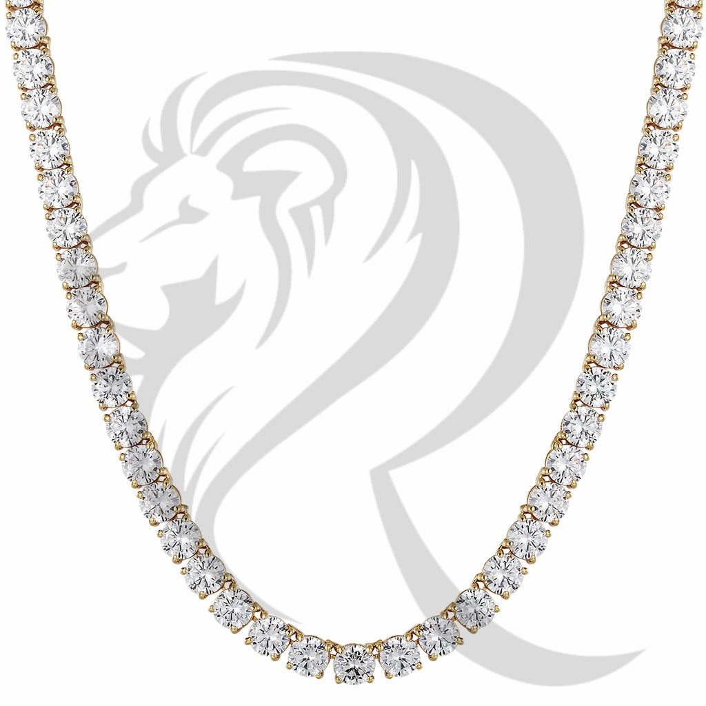 "8MM 18""-24"" Yellow Solitaire Simulated Diamonds 1 Row Tennis Chain"