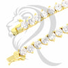 "3MM 18""-30"" Yellow 3 Prong Solitaire Simulated Diamonds 1 Row Tennis Chain"