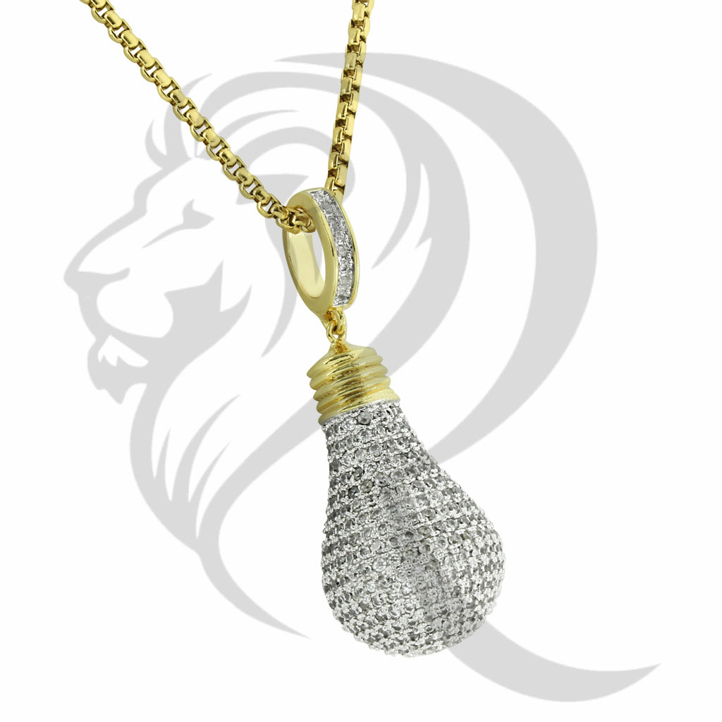 3D All Around IcedOut Yellow Tone Light Bulb Pendant