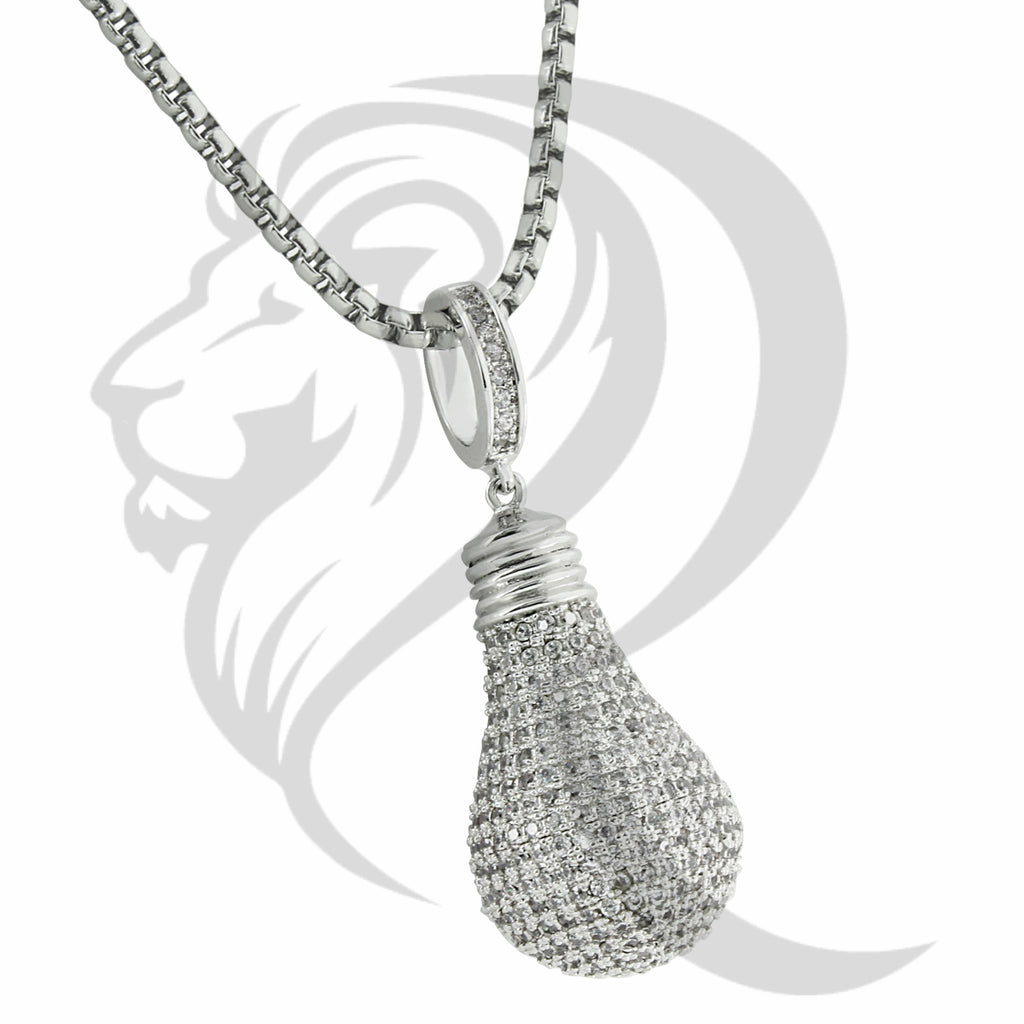 White Gold Tone 3D IcedOut Light Bulb Pendant