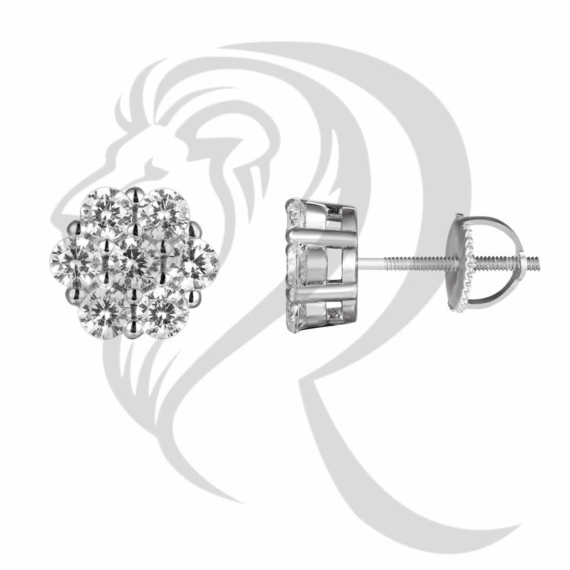 Sterling Silver Solitaire Flower Style 8MM Stud Earrings