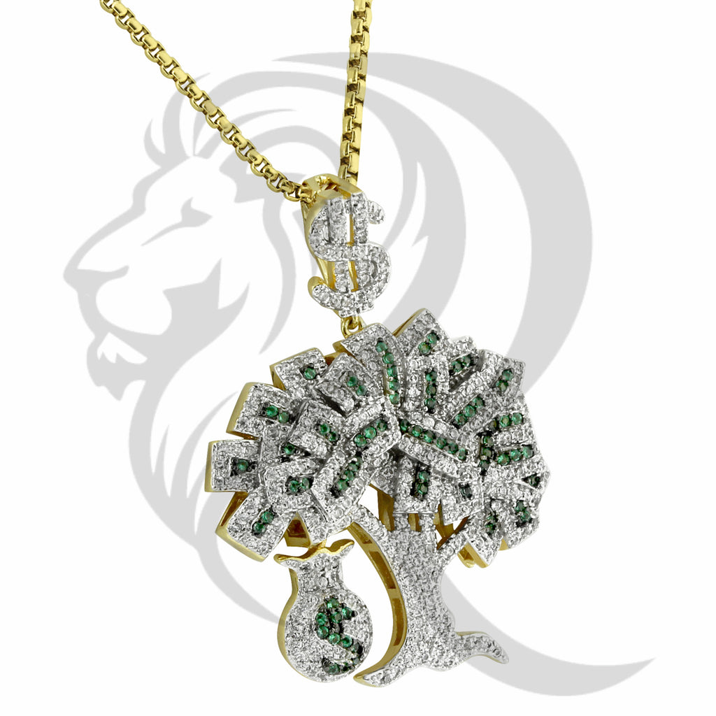 Two-Tone IcedOut Dollar Sign Money Bag Money Tree pendant
