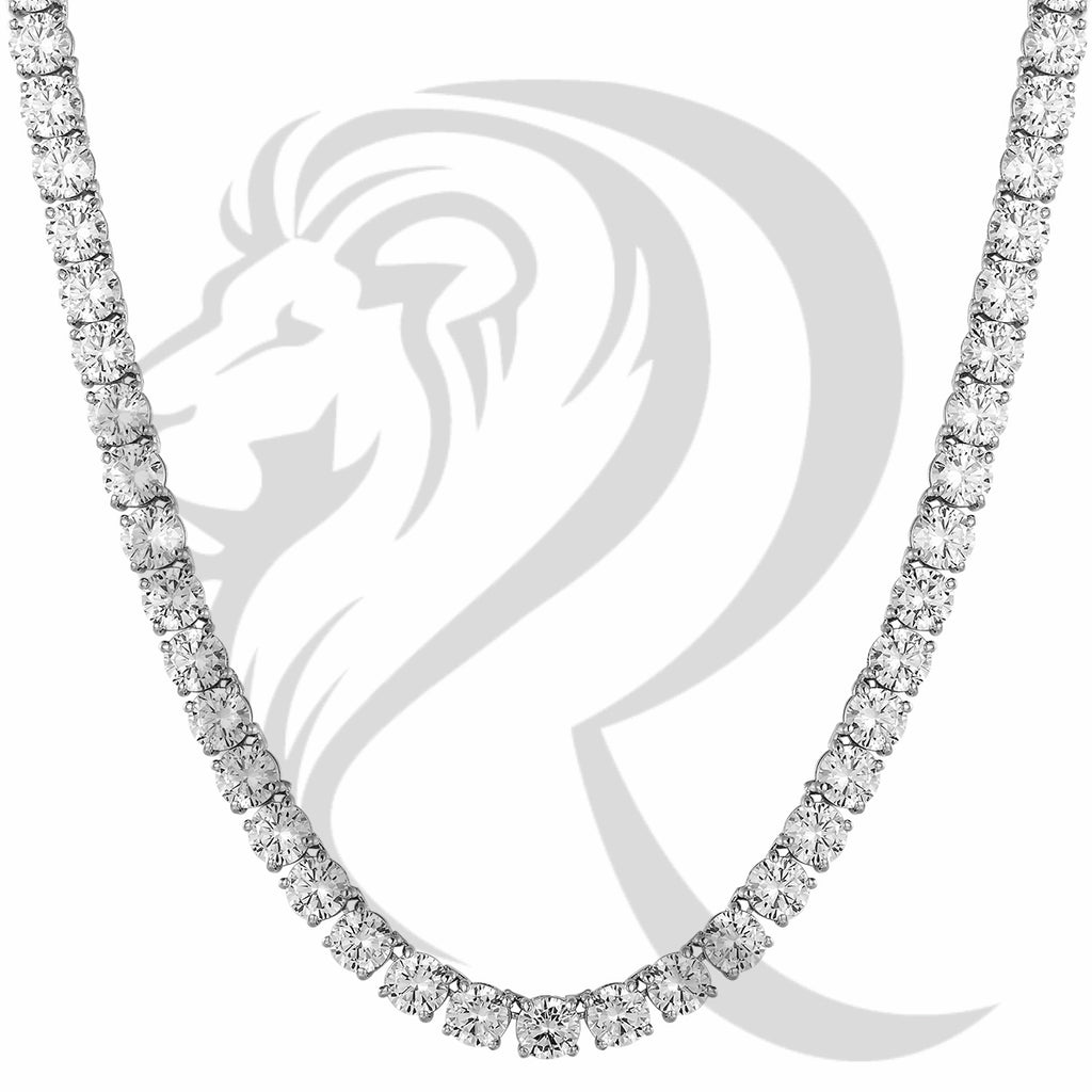 "6MM 18""-24"" White Tone Solitaire Simulated Diamonds 1 Row Tennis Chain"