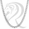 "8MM 18""-24"" White Tone Simulated Diamonds 1 Row Tennis Link Chain"