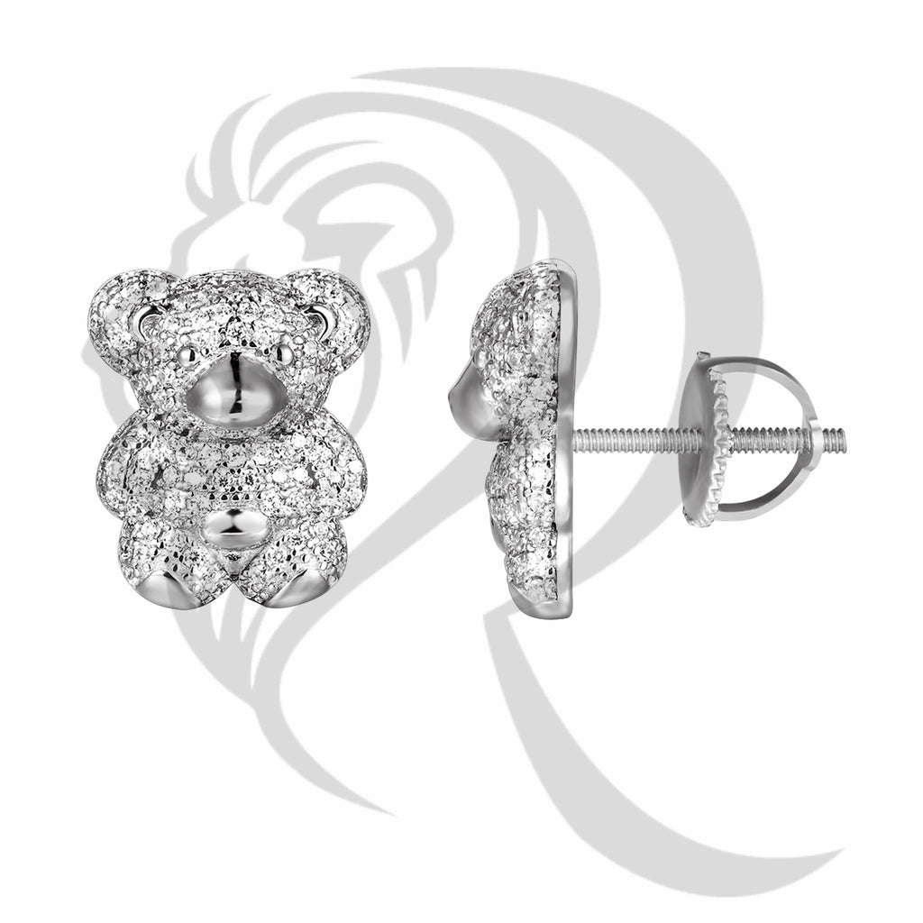 Sterling Silver IcedOut Teddy Bear 14MMx11MM Earrings