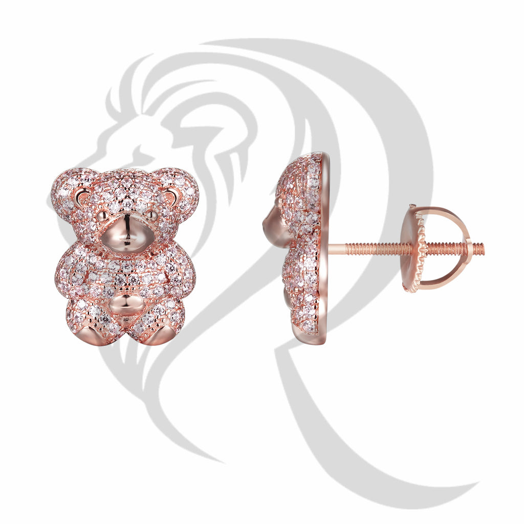 Pink Stones IcedOut Teddy Bear Stud Earrings